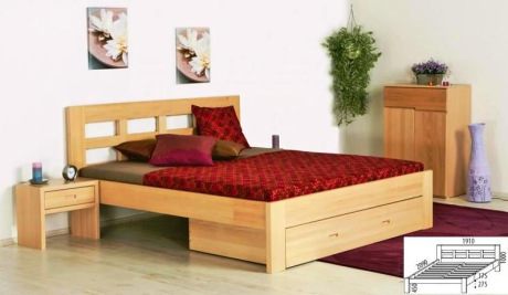 Manželská postel Otýlie - masiv borovice