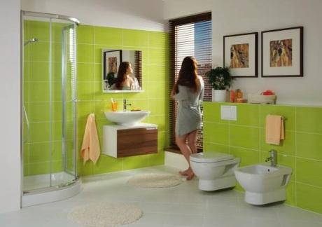 Zelené obklady do koupelny