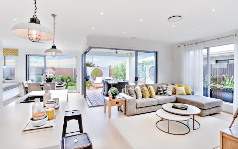 Obývací pokoj s kuchyní v minimalistickém style