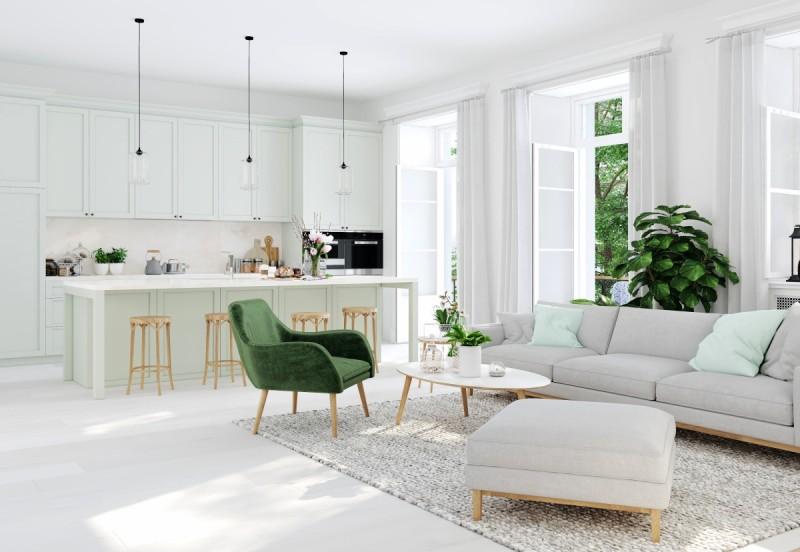 Otevřený prostor mezi kuchyní a obývacím pokojem